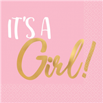 Baby Shower Girl Napkin Beverage 16 Pack