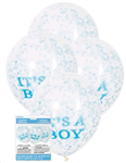Balloons Clear Its a Boy Print with Blue Confetti 6 Pack