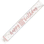 Banner Foil Rose Gold 100th Birthday