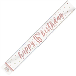 Banner Foil Rose Gold 16th Birthday