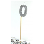 Candle 0 Long Pick Silver Glitter