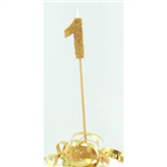 Candle 1 Long Pick Gold Glitter