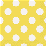 Dots Napkins Beverage Yellow 16 Pack